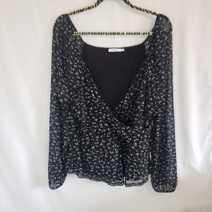 Rickis floral cross over top with sheer sleeves